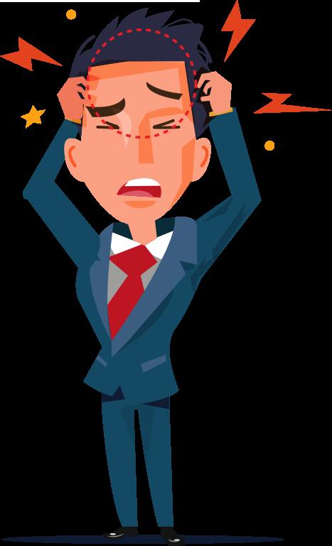 Ilustração de Homem vestido com terno levando as mãos na cabeça para indicar enxaqueca
